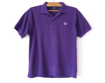 90s Fred Perry Shirt, Vintage Fred Perry Polo Shirt, Purple Fred Perry Sweatshirt, Mens Fred Perry T-shirt Made in England, Perry Tee Size L
