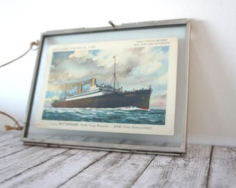 "Decorative framed antique post card from the old ss Rotterdam: ""a perfect time"""