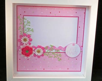 "Handcrafted Box Framed Baby Girl Artwork - ready for 6x4"" photo - 15x10cm - baby gift, christening gift, naming gift, birthday gift"