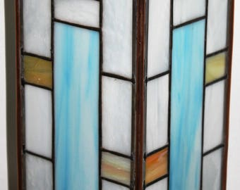 Gold and blue collection stained glass pieces