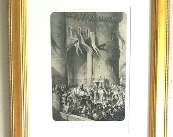 Antique Lithograph Published in 1861 of Historical Paris Scene