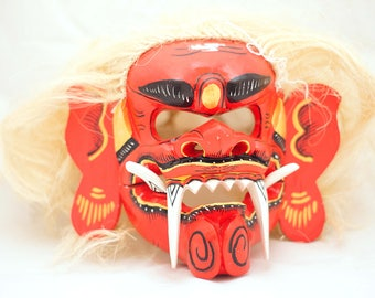 Oni mask Red Shaman with fangs Voodoo wooden mask Creepy mask Scary mask Authentic mask Mascot mask