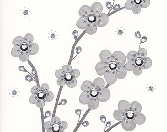 Glistening Silver Cherry Blossom