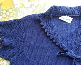 60s 70s Navy Knit Sweater with Crochet Collar and Tie Neck