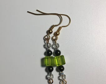 Square Green Earring