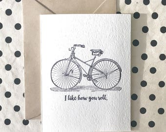 I Like How You Roll Card, Just Because Card,  Funny Friendship Card, Bicycle Greeting Card
