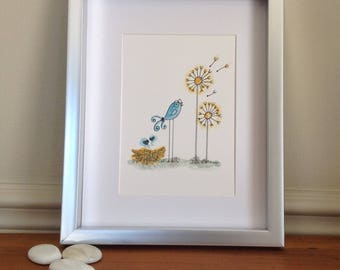 Original bird watercolor/bird illustration/decoration bird child bedroom