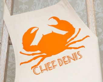 Personalised Crab / Seafood Lovers Apron, bbq apron, father son aprons, father's day gift, gift for dad husband man