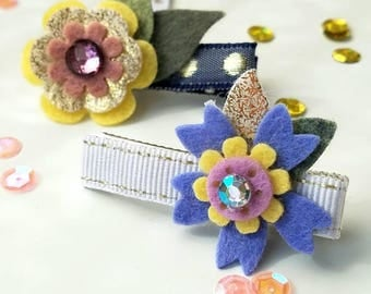 Felt flower hair clip set, flower hair clip, summer hair clip