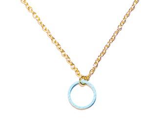 Circle necklace light blue | Minimalist geometric