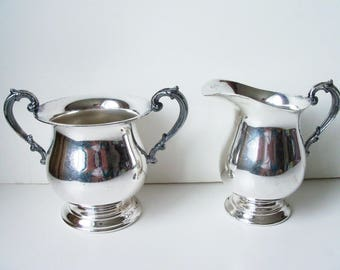 Vintage silver plated creamer and sugar bowl (#EV85)