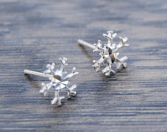 Sterling Silver Snowflake Earrings-Diamond Cut Center DB1N