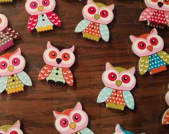 Twit Twoo, 15 Owl buttons,  bird buttons with 2 holes