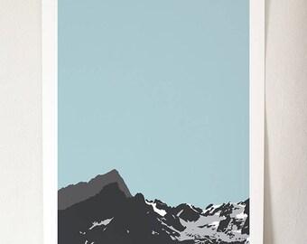 Alps IV - Blue Sky A3 Giclée Print