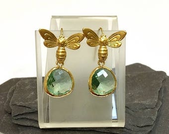Earrings with bee earwires. Gold plated.