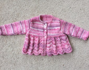 Pretty hand knitted baby girl cardigan (0-3 months)
