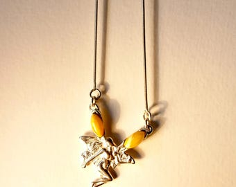 Natural Baltic Amber Necklace with Silver Pendant and Amber Beads on Zinced Wire