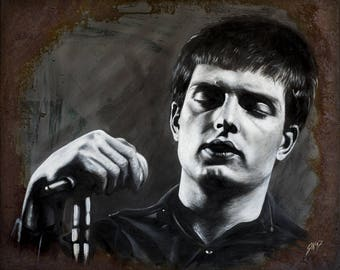 Portrait of ian Curtis, acrylic and real rust on canvas, 50x60cm, one of a kind