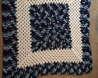 Multicolor blue and white crochet afghan