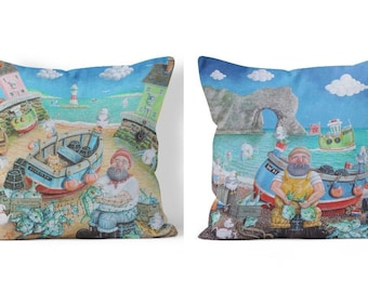 Durdle Doggie & Moggie / Fisherman's Friend Double Sided Sofa Cushion
