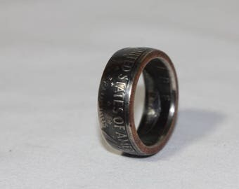 Silver United States Half dollar ring with pitine