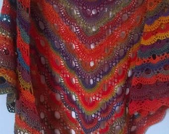 Hand crocheted lacey shawl