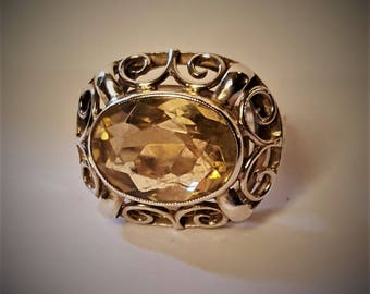 Art Deco Sterling Silver and Citrine Ring