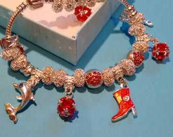 Pandora Style European Charm Bracelet Silver plated with red beads and Dolphins