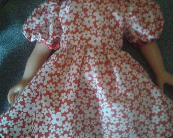 """red flower poly-cotton dress, fits most 18"""" fashion dolls"""