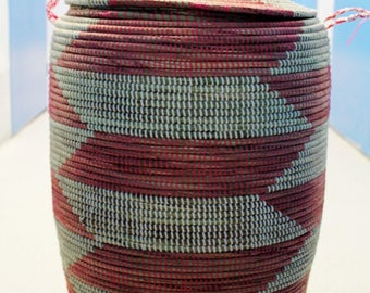 multi coloured handwoven laundry basket, laundry basket,  recycled plastic basket, extra large basket