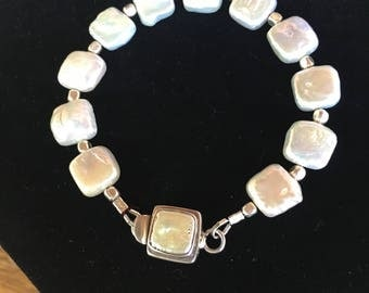 "Freshwater Pearl ""Pillow"" Beads with Sterling and Freshwater Pearl Clasp"