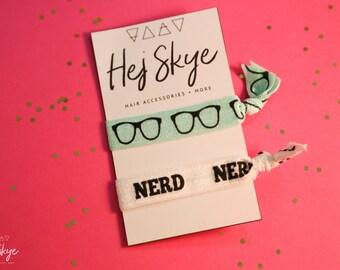 Nerd and Glasses Set of 2 Hair Ties