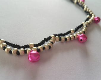 Black & Soft Gold Beaded Anklet with Pink Bells
