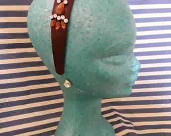 Jeweled headband with crystal earrings