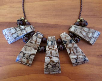 Brown Boho Aztec Macrame Necklace