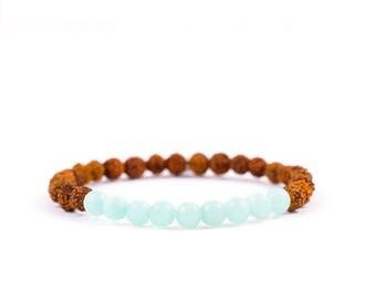 Mala Yoga bracelet COURAGE with Rudraksha seeds and Amazonite gems - for yoga and meditation.