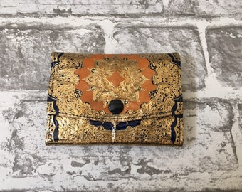 1960s Gold Embossed Leather Wallet , Purse vintage