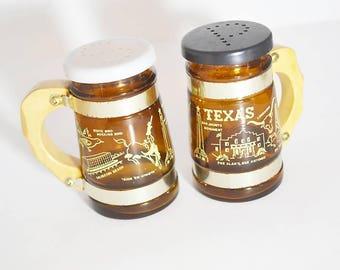 Vintage Texas Salt and Pepper Shakers, The Alamo, San Antonio, Galveston Beach, Siestaware, Antique Texas Collectibles, Vintage Kitchenware