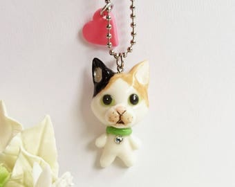Calico-Calico cat charms, brooches, charm swallow ski with a small pendant of the calico, Calico, cat, cat brooch,