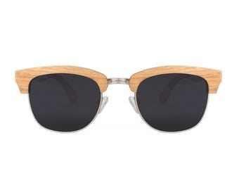 "Wooden sunglasses | Clubmaster sunglasses | Wooden model ""New York"". Glasses polarized and UV400 category 3 standards"