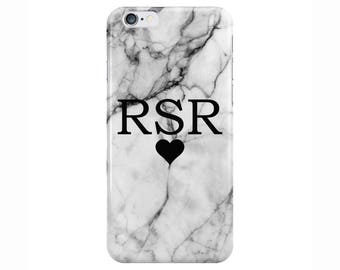 Personalised Name small initials Heart White Marble Phone Case Cover for Apple iPhone 5 6 6s 7 8 Plus & Samsung Galaxy Customized Monogram