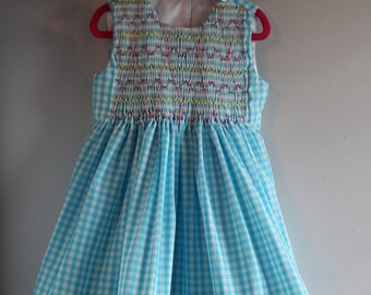 Smocked GINGHAM Summer PARTY Dress 4T