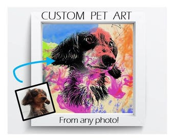 Custom Pet Art on Print or Canvas, Memorial, Artwork, Painting, Gift