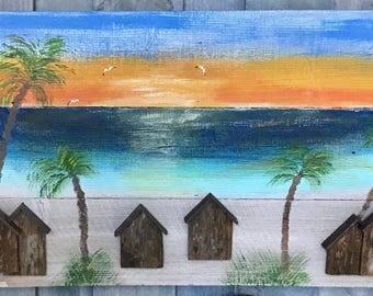 Wood Art relief sunset cabanas