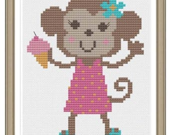 Customizable cute monkey cross stitched to order (boy or girl)