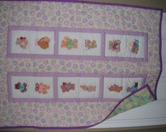 Hand painted Bears - baby quilt
