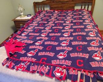 Cleveland Indians fleece tie  blanket