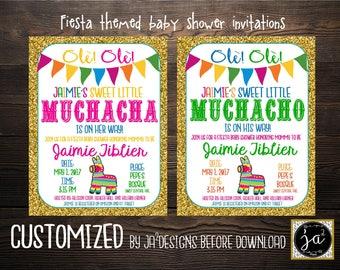 fiesta baby shower invitation boy baby shower invite girl baby shower invite