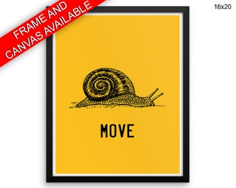 Snail Printed  Poster Move Framed Snail Office Art Move Office Print Snail Canvas Move agile