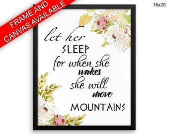 Napoleon Canvas Art Sleep Printed Napoleon Quote Art Sleep Quote Print Napoleon Framed Art Sleep when she wakes she will move mountains